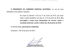 PRESIDENTE DA COMISSÃO ESPECIAL ELEITORAL PRORROGA PRORROGA O PRAZO PARA RECURSO