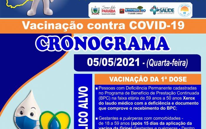 VACINAÇÃO CRONOGRAMA 05/05/2021