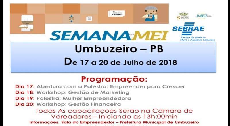 A Prefeitura de Umbuzeiro através da Sala do Empreendedor em parceria com o SEBRAE promove a semana do MEI microempreendedor individual.